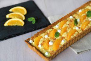 Crostata con crema pasticcera e arance