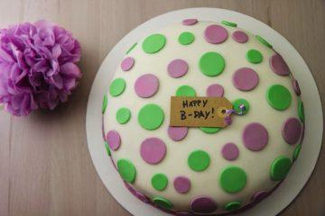 torta a pois lilla e verde